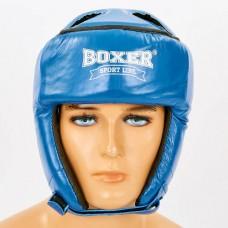 Шлем боксерский открытый с усиленной защитой макушки кожаный BOXER 2029 (р-р M-L, красный, синий)