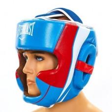 Шлем боксерский с полной защитой кожаный ELAST BO-5242-B