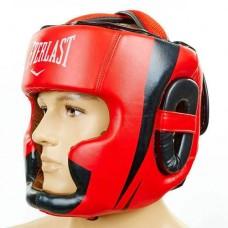 Шлем боксерский с полной защитой кожаный ELAST BO-5242-R