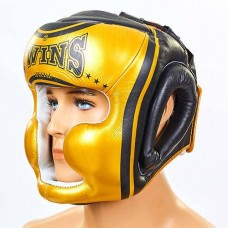 Шлем боксерский с полной защитой кожаный  TWINS FHG-TW4GD-BK