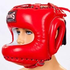 Шлем боксерский с бампером кожаный TWINS HGL-10-RD