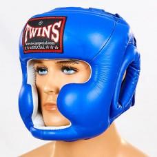 Шлем боксерский с полной защитой кожаный  TWINS HGL-3-BU