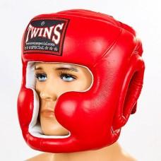 Шлем боксерский с полной защитой кожаный  TWINS HGL-3-RD