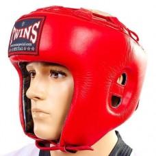 Шлем боксерский открытый кожаный TWINS HGL-8-RD
