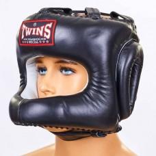 Шлем боксерский с бампером кожаный TWINS HGL-9-BK