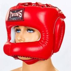 Шлем боксерский с бампером кожаный TWINS HGL-9-RD
