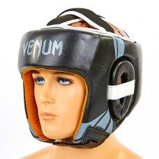 Шлем боксерский открытый с усиленной защитой макушки кожаный VENUM BO-6629-BK (черный-серый, р-р M-XL)
