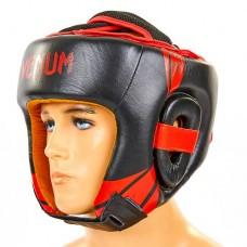 Шлем боксерский открытый с усиленной защитой макушки кожаный VENUM BO-6629-R (черный-красный, р-р M-XL)
