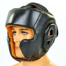 Шлем боксерский в мексиканском стиле кожаный VENUM BO-6652-BK (черный, р-р M-XL)