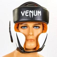 Шлем боксерский в мексиканском стиле кожаный VENUM BO-6652-BKW (черный-белый, р-р M-XL)