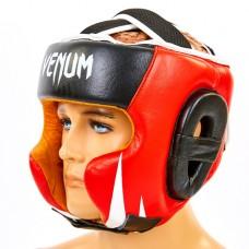 Шлем боксерский в мексиканском стиле кожаный VENUM BO-6652-R (черный-красный, р-р M-XL)