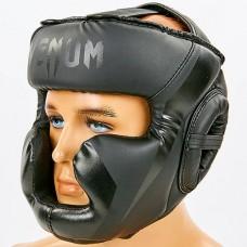 Шлем боксерский с полной защитой PU VENUM CHALLENGER BO-7041-BK (черный, р-р S-L-53-68см)