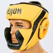 Шлем боксерский с полной защитой PU VENUM CHALLENGER BO-7041-OR (оранж-черный,р-р S-L-53-68см)