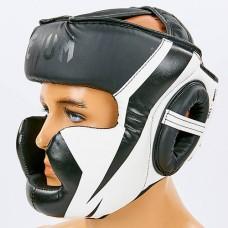 Шлем боксерский с полной защитой PU VENUM CHALLENGER BO-7041-W (черный-белый, р-р S-L-53-68см)