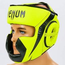 Шлем боксерский с полной защитой PU VENUM CHALLENGER BO-7041-Y (черный-лимон, р-р S-L-53-68см)