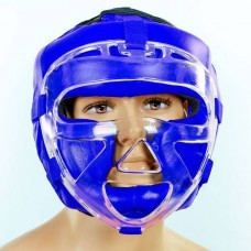 Шлем для единоборств с прозрачной маской кожаный ZEL ZA-01027-B