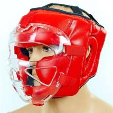 Шлем для единоборств с прозрачной маской кожаный ZEL ZA-01027-R