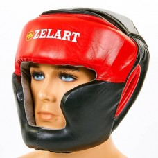 Шлем боксерский с полной защитой кожаный ZEL ZB-3731-R
