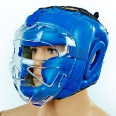 Шлем для единоборств с прозрачной маской PU ZEL ZB-5209-B