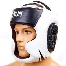 Шлем боксерский с полной защитой Кожа VENUM BO-5246-BK черно-белый