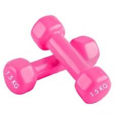 Гантели для фитнеса с виниловым покрытием Радуга  (2* 1.5 кг) TA-0001-1,5-P