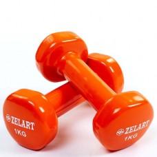 Гантели для фитнеса с виниловым покрытием Beauty (2* 1кг) TA-5225-1(OR)