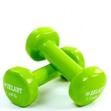 Гантели для фитнеса с виниловым покрытием Beauty (2* 1,5кг) TA-5225-1,5(LG)