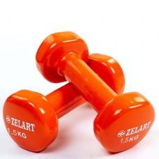 Гантели для фитнеса с виниловым покрытием Beauty (2* 1,5кг) TA-5225-1,5(OR)