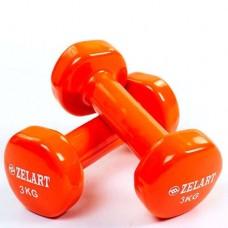 Гантели для фитнеса с виниловым покрытием Beauty (2* 3кг) TA-5225-3(OR)