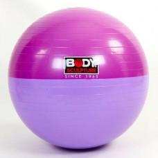 Мяч для фитнеса (фитбол) гладкий глянцевый двухцветный 65см. Body Sk BB-001ESP-26 (PVC, ABS технолог)